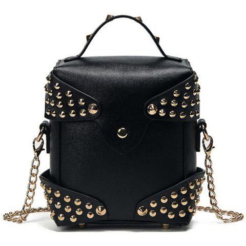 Studded Cross Body Bag with Top Handle - Black