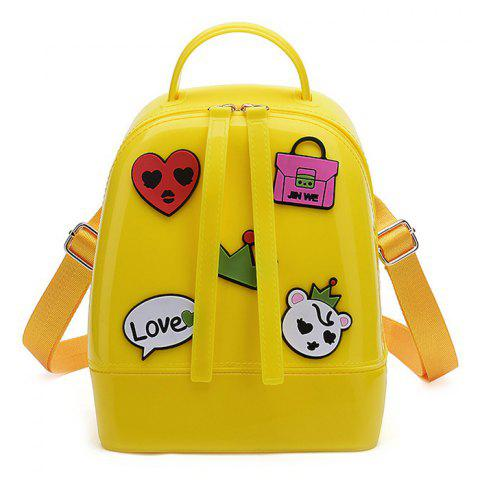 Chic Top Handle Patches Jelly Backpack
