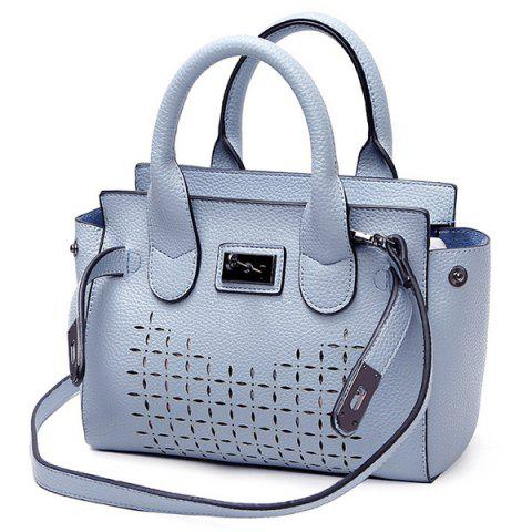 Hot Faux Leather Hollow Out Handbag BLUE