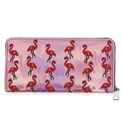 Hot Flamingo Embroidered Clutch Wallet
