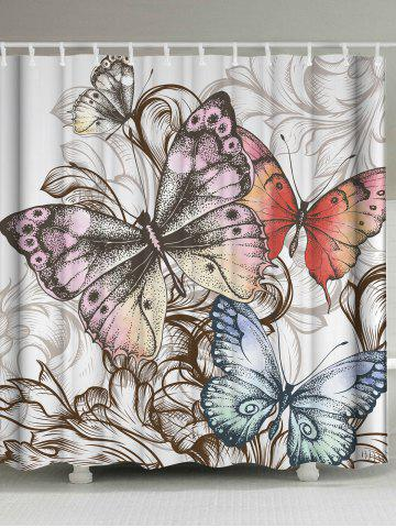 Vintage Fabric Butterfly Print Shower Curtain - Colormix - W71inch * L79inch