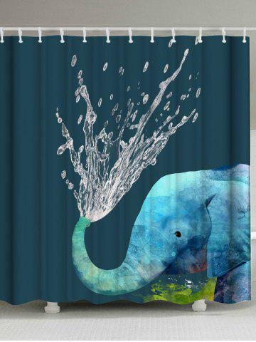 African Elephant Animal Bathroom Shower Curtain - Blackish Green - W71inch * L79inch