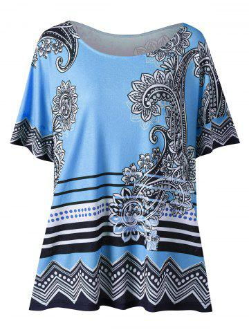 Fancy Floral Side Slit Plus Size Casual T-Shirt - 3XL LIGHT BLUE Mobile