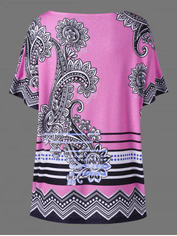 Discount Floral Side Slit Plus Size Casual T-Shirt - 5XL PINK Mobile