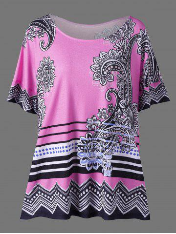 Affordable Floral Side Slit Plus Size Casual T-Shirt - 3XL PINK Mobile