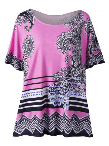 Fancy Floral Side Slit Plus Size Casual T-Shirt - XL PINK Mobile
