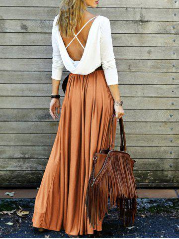 Sale Long Sleeve Backless Maxi Pleated Flowy Dress ORANGE XL