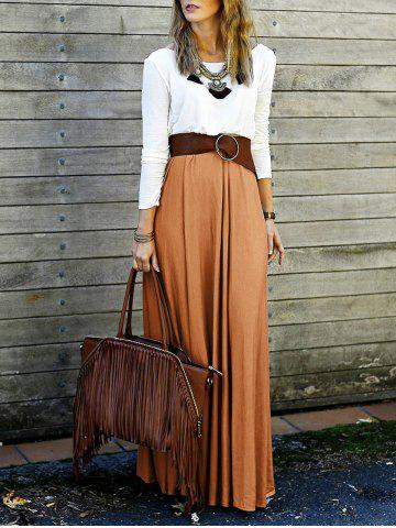 Outfits Long Sleeve Backless Maxi Pleated Flowy Dress - M ORANGE Mobile
