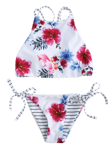 Outfits Floral High Neck 2 Piece Swimsuit - S WHITE Mobile