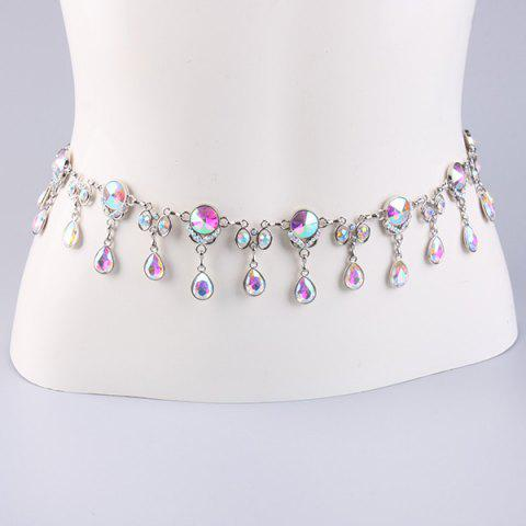 Discount Rhinestone Water Drop Jewelled Waist Belt