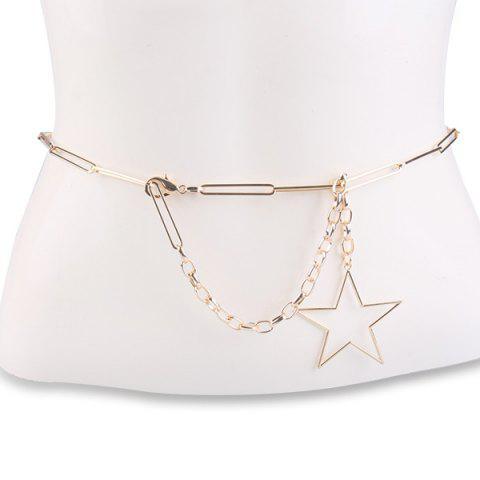 Hollow Out Pentagram Link Chain Ceinture Or