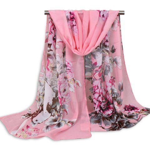 Floral Blossom Wash Painting Shawl Scarf - Light Pink - 3xl