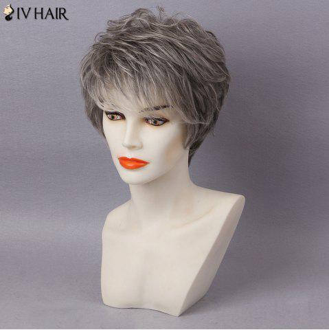 Trendy Siv Hair Short Layered Colormix Inclined Bang Straight Human Hair - COLORMIX  Mobile