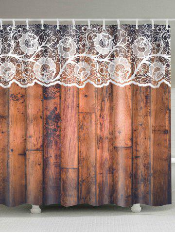Eco-Friendly Lace Woody Door Shower Curtain - Brown - W71inch * L79inch