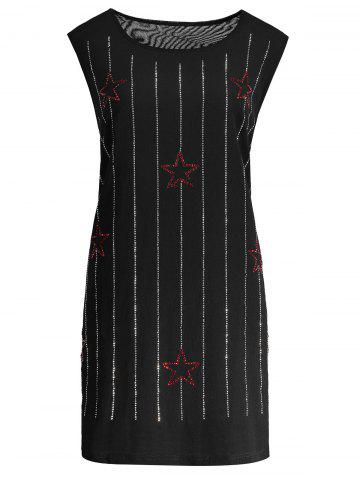 Beaded Sleeveless Plus Size Dress - Black - Xl