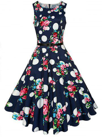 Unique Vintage High Waist Printed Belted Midi Dress