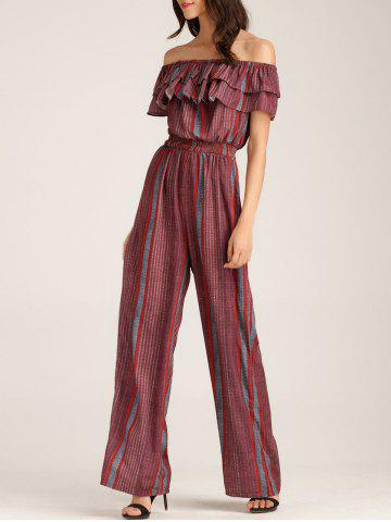 Off The Shoulder Ruffle Layer Striped Jumpsuit - Gray And Red - Xl