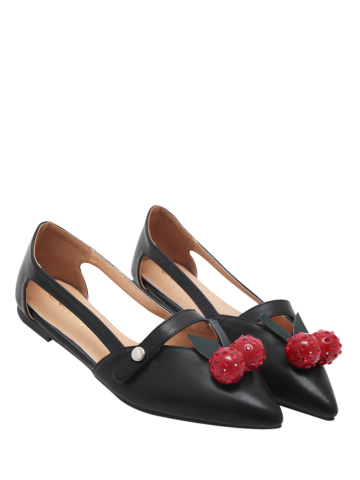 Outfit Cherry Embellishment Hollow Out Flat Shoes - 37 BLACK Mobile