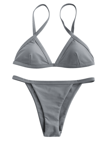 Trendy Spaghetti Straps String High Cut Two Piece Swimsuit - GRAY M Mobile