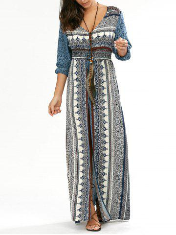 Outfits Button Down V Neck Long Dress with Split BLUE XL