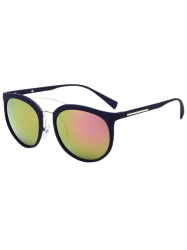 Double Cambered Metal Crossbar Mirrored Sunglasses