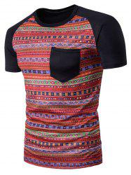 Geometric Tribal Print Pocket T-Shirt