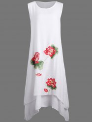 Casual Swing Lotus Flower Linen Dress - WHITE