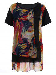 Plus Size Layered Tie Dye Overlap Chiffon Top