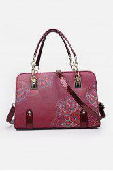 Metal Detail Flower Print Handbag - RED