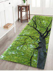 Tree Water Absorption Flannel Antislip Rug - GREEN