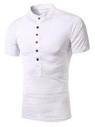 Stand Collar Splicing Design Short Sleeve T-Shirt For Men - WHITE