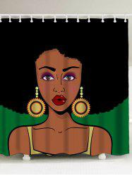 Polyester Fabric Afro Girl Shower Curtain
