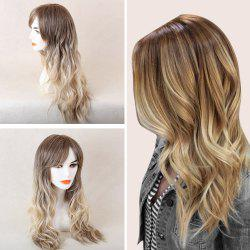 Long Beach Wave Colormix Oblique Bang Human Hair Wig