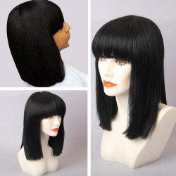 Medium Straight Bob Full Bang Human Hair Wig - JET BLACK 01#