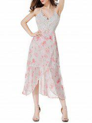 Tea Length Open Back Floral Slip Party Dress -