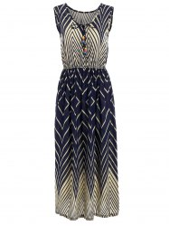 Elastic Waist Sleeveless Chevron Midi Dress