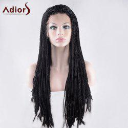 Long Lace Front Micro Afro Braid Straight Synthetic Wig