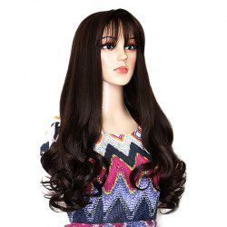 Long Neat Bang Botton Wavy Synthetic Party Wig