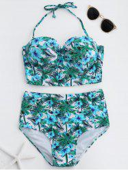 Halter High Waist Moulded Tropical Bikini