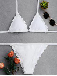 Halter String Bikini With Scalloped -