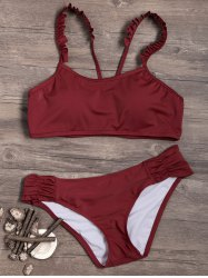 Ruched Ruffles Crop Top Bikini Set