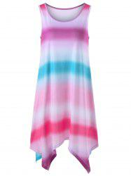 Ombre Handkerchief Hem Sleeveless Dress - MULTI