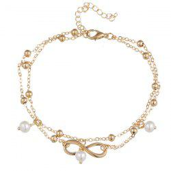 Beads Faux Pearl 8 Shape Double Layered Anklet -