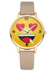 Faux Leather Cartoon Emoticon Face Watch
