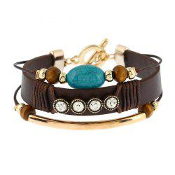 Turquoise Rhinestone Layered Faux Leather Bracelet