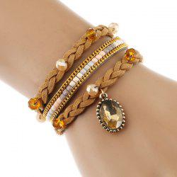 Faux Leather Crystal Braided Velvet Strand Bracelet - LIGHT COFFEE