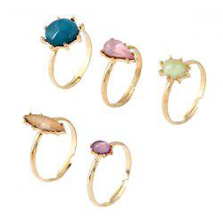 Faux Crystal Geometric Finger Ring Set - GOLDEN