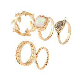 Artificial Gemstone Rhinestone Leaf Ring Set - GOLDEN
