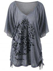 Floral Print Side Drawstring Plus Size T-Shirt - GRAY