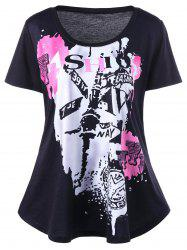 Plus Size Graffiti Print T-Shirt